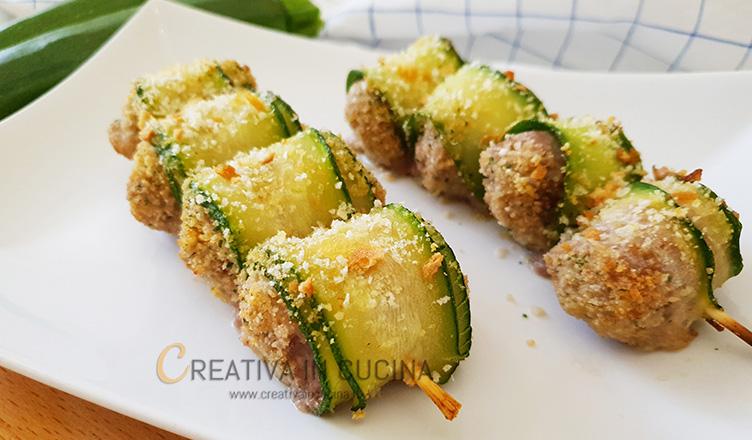 Spiedini di zucchine farcite alla carne ricetta di Creativaincucina