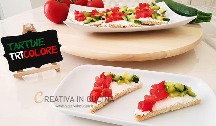 tartine tricolore ricetta di creativaincucina