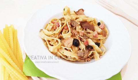 Tripoline con pancetta e funghi porcini