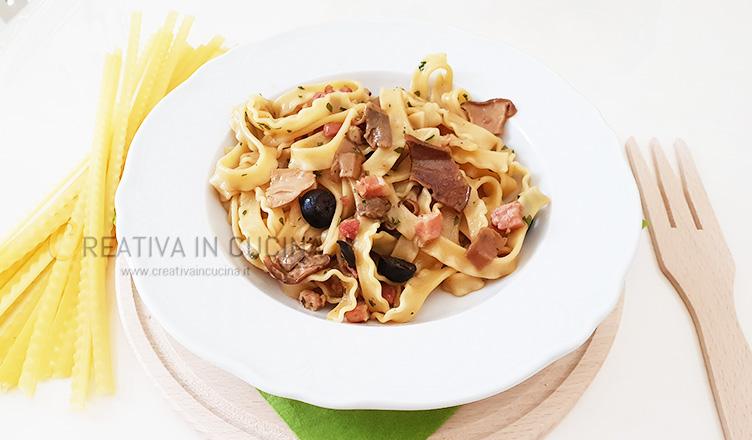 Tripoline con pancetta e funghi porcini ricetta di Creativaincucina