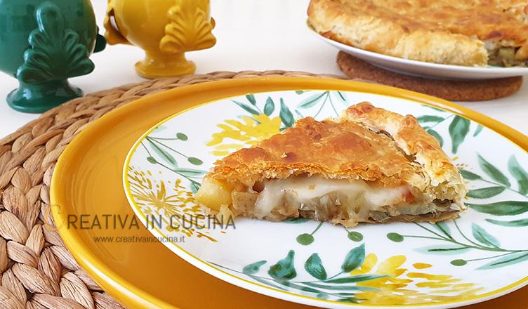 Pizza rustica carciofi funghi e patate ricetta di Creativa in cucina