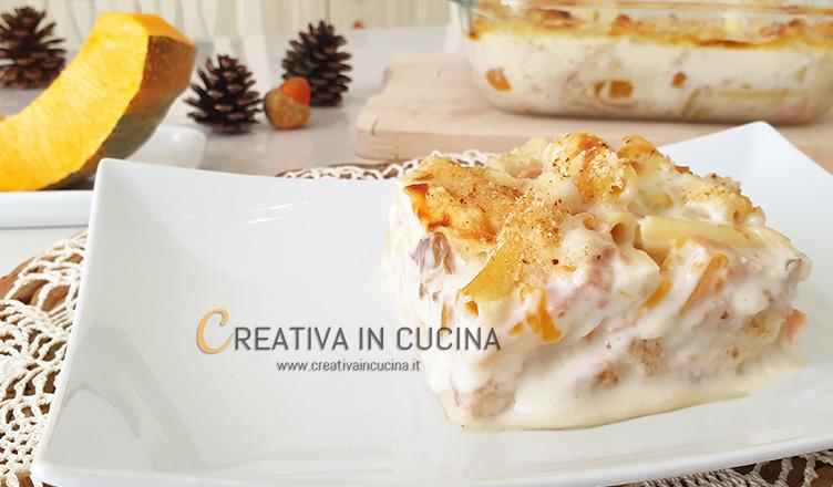 Pasta al forno zucca e funghi ricetta di Creativa in cucina