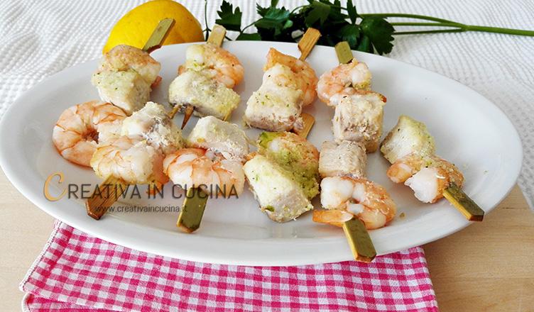 Mini spiedini di pesce gratinati ricetta di Creativa in cucina
