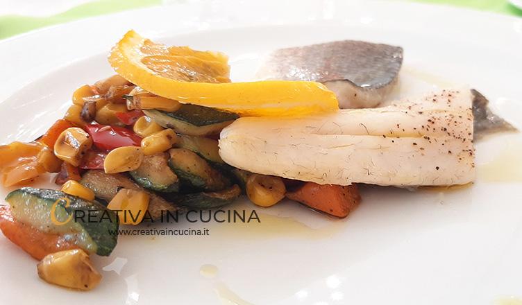 Branzino al vapore con ortaggi grigliati ricetta di Creativa in cucina